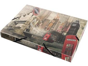 """Panta Plast Box na dokumenty PP A4 trojchl. s gumičkou 30mm """"London"""""""
