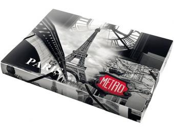 """Panta Plast Box na dokumenty PP A4 trojchl. s gumičkou 30mm """"Paríž"""""""