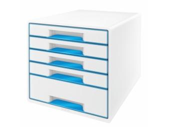 Leitz WOW Zásuvkový box, 5 zásuviek metal.modrá