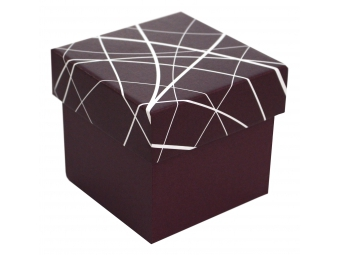 Darčeková krabička vínovo-biela 100x100x100mm
