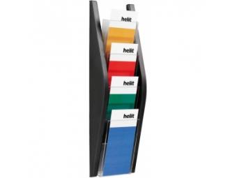 HELIT Prezentačný stojan 4x1/3 A4 čierny