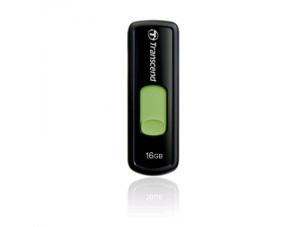 Transcend JetFlash 500 flashdisk 16GB USB 2.0, výsuvný konektor, čierno-zelený, 5/14MB/s