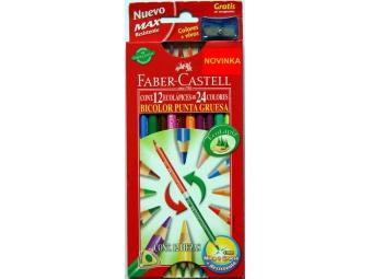 Faber-Castell Bicolor Eco pastelky trojhranné + strúhadlo,sada 12ks
