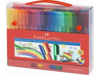 Faber-Castell popisovače 1mm s klipom v darč. balení (sada=60ks)