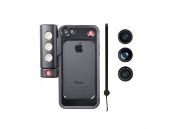 Manfrotto MKLOKLYP5S, BUMPER + 3 ks objektivov + LED svetlo pre iPhone 5/5s, farba čierna