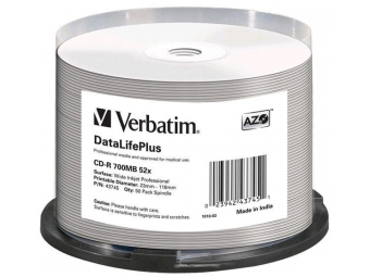 CD-R VERBATIM DTL+ Printable 700MB 52x cake box (bal=50ks) wide non iD 43745