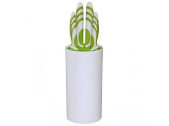 Xavax 111543 set kuchynských nožov v stojane, zelený/biely