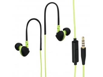 Hama 135606 slúchadlá s mikrofónom RUN, silikónové štuple, klip, zelená/čierna
