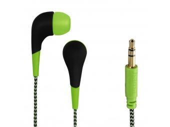 Hama 135631 slúchadlá Neon, silikónové štuple, opletený kábel, zelené