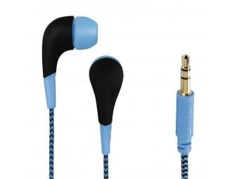 Hama 135632 slúchadlá Neon, silikónové štuple, opletený kábel, modré