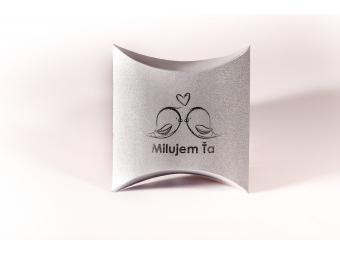 Darčeková krabička pukačka s potlačou 01, strieborná perleť 75x110x35mm