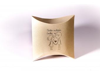 Darčeková krabička pukačka s potlačou 04, zlatá perleť 75x110x35mm
