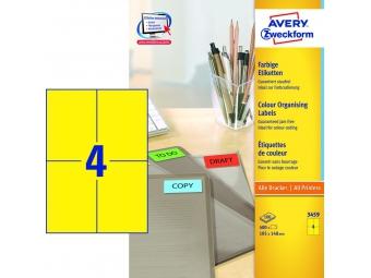 Avery Etikety 105x148mm žlté (bal=100hár)