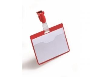 Durable Visačka so štipcom horizontálna 90x60mm červená (bal=25ks)