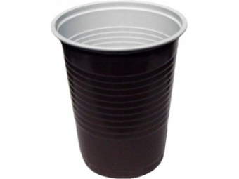 Poháre plastové na kávu 0,18l hnedo-biele (bal=100ks)