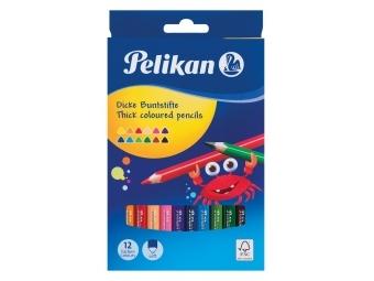 Pelikan Pastelky trojhranné, 4mm,sada 12ks v krabičke