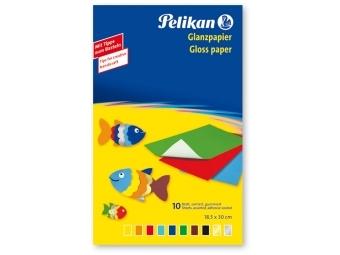 Pelikan Papier farebný lesklý, 10 ks, 30 x 18 cm, mix farieb