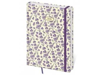 Diár 2018 VARIO denný s gumič, 352 strán,14,3x20,5cm (A5) Lavender