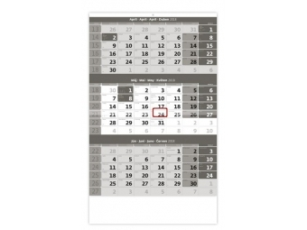 Kalendár 2018 TROJMESAČNÝ nástenný 315x450mm sivý