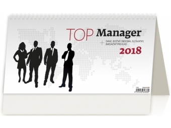Kalendár 2018 TOP MANAGER stolový,týždenný,stĺpcový 320x160mm
