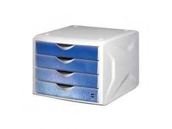 Helit Zásuvkový box Chameleón,biela/modré kvapky