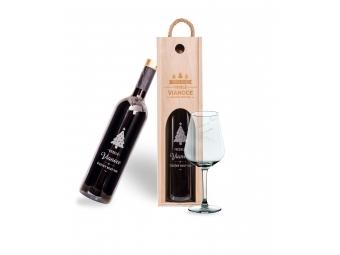 Vínna sada s gravírovaním (pohár + box + víno)