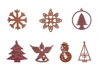 Vianočné vyrezávané ozdoby sada 6ks