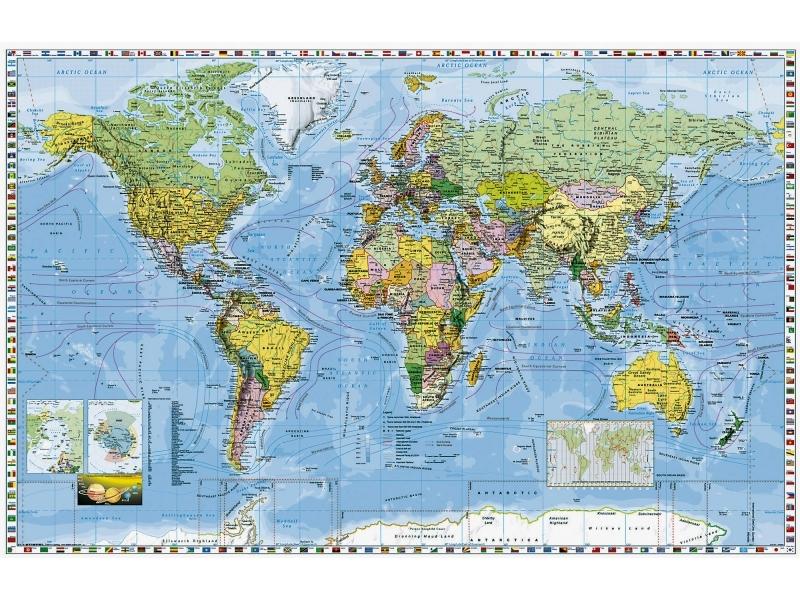 Mapa 145x100cm Svet Politicky S Vlajkami Statov 1 28 5mil