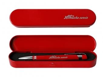 Kovové guľôčkové pero v kovovej krabičke s gravírovaním pera a krabičky