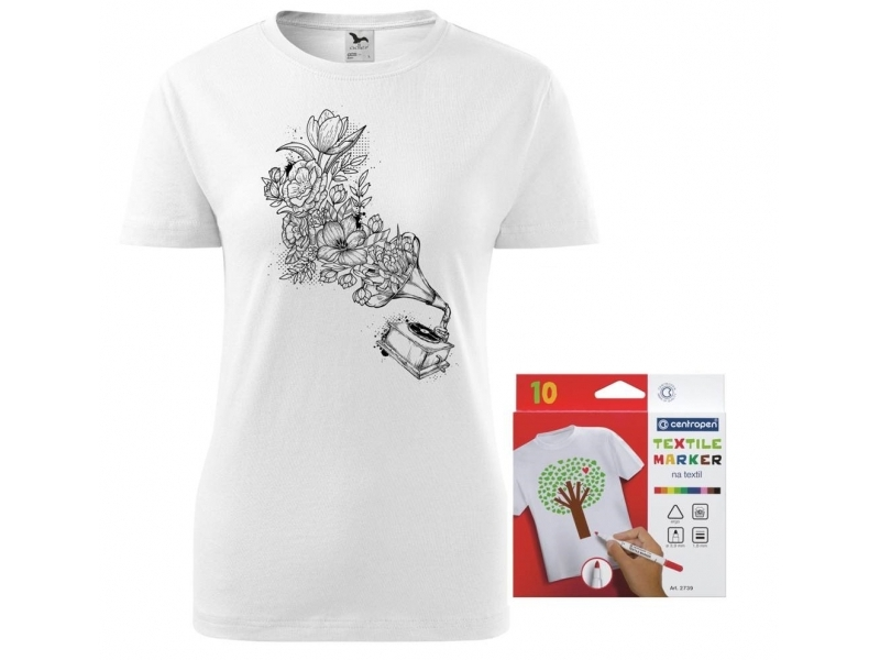b1377338994f Dámske tričko s motívom omaľovánky + sada farebných popisovačov na textil