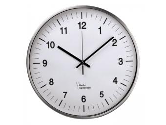 Hama 113977 nástenné hodiny AG-340, riadené rádiovým signálom, strieborné