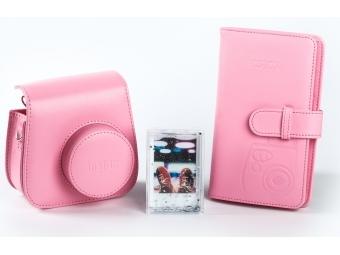 Fujifilm sada príslušenstva pre instax mini 8 / mini 9, ružová (kožené púzdro, fotoalbum, akrylový rámik)