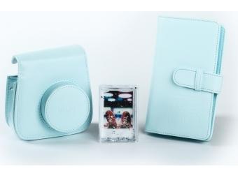 Fujifilm sada príslušenstva pre instax mini 8 / mini 9, svetlo modrá (kožené púzdro, fotoalbum, akrylový rámik)