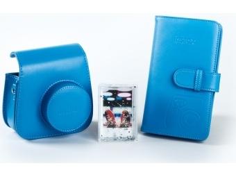 Fujifilm sada príslušenstva pre instax mini 8 / mini 9, tmavo modrá (kožené púzdro, fotoalbum, akrylový rámik)
