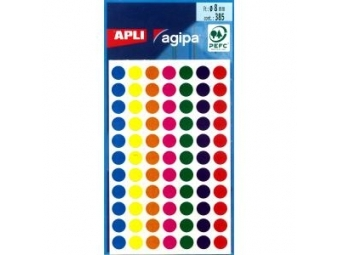 AGIPA Etikety kruhové 8mm mix farieb (bal=5 hár, 385ks)