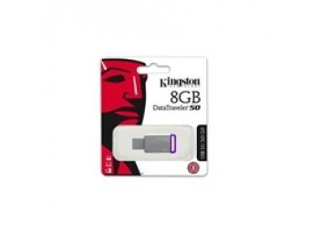 Kingston USB 3.0 DataTraveler 50 8GB, kovový, purpurový