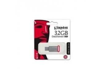 Kingston USB 3.0 DataTraveler 50 32GB, kovový, červený