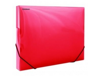 Donau Box na dokumenty plastový s gumič.priehľadný červený