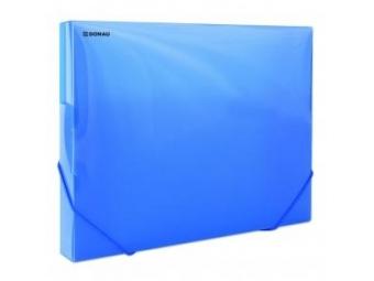 Donau Box na dokumenty plastový s gumič.priehľadný modrý