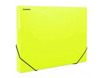 Donau Box na dokumenty plastový s gumič.priehľadný žltý