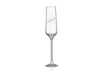 Pohár na šampanské s gravírovaním, sklenený