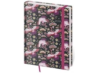 Diár 2019 VARIO B6 týždenný s gumičkou 128 strán,12x16,5cm, Flamingo