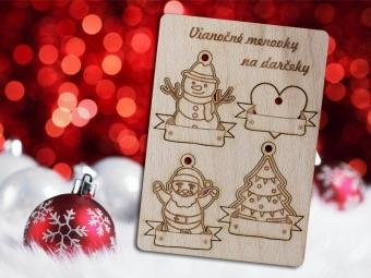 Vianočné menovky na darčeky, gravírované