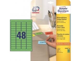 Avery Etikety odnímateľné 45,7x21,2 mm zelená (bal=20hár)
