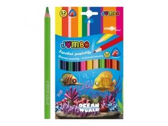 JUNIOR Pastelky Ocean World trojhrané JUMBO 12 ks