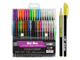 JUNIOR Pero gélove - sada 36 ks (3x12 ks - Neon, Glitter, Pastel)