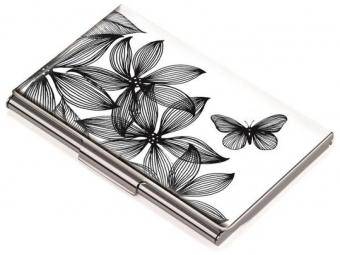 Troika Vizitkár kovový Black Flowers (11ks vizitiek)