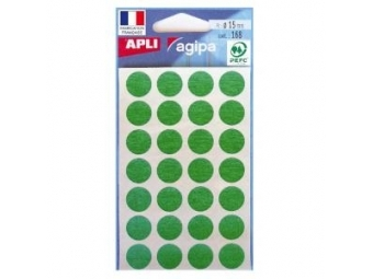 AGIPA Etikety kruhové na A5 15mm zelené (bal=6hár,168ks)