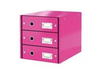 Leitz Zásuvkový box Click&Store,3 zásuvky metal.ružová