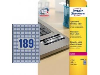 Avery Etikety polyesterové 25,4x10mm/A4 strieborné (bal=20hár)